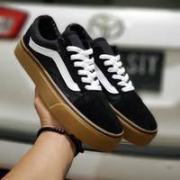 sepatu Sneakers pria wanita vans old skool hitam lis putih sol gum
