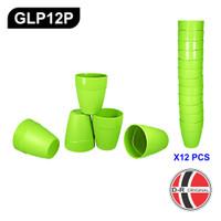 GLP12P - 12 Buah Gelas / Cangkir Plastik Hijau Pendek IDEAL