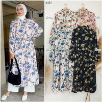 DR581-B @ IDR 90.000,- ( MIELLA floral button accent daily long tunic)