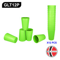 GLT12P - 12 Buah Gelas / Cangkir Plastik Hijau Tinggi IDEAL