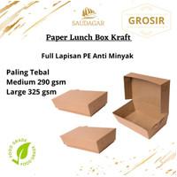 PAPER LUNCH BOX BAHAN KRAFT/ CRAFT FULL LAMINASI SIZE M & L