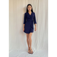 Catharina Wrap Blazer Dress - Navy Blue