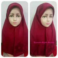 Jilbab Sekolah Kaos Super Vania Maroon Bunga 1