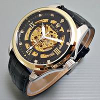 jam tangan pria rolex automatic kulit rolex skeleton romawi - Kombinasi hitam