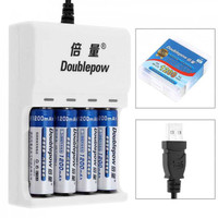 DOUBLEPOW Charger Baterai 4 slot AA/AAA + 4 PCS AA 1200mAh EPC-BTY-14M