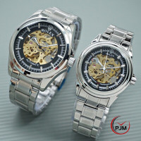 Jam tangan couple rolex rantai skeleton automatic rolex transparan