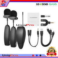 Microphone Mic Clip On Wireless VLOG Kamera Smartphone HP Podcast Zoom - Double Mic