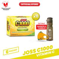 Joss C1000 Vitamin C 11 Pack (66 Sachet) FREE Botol Tumbler & Masker