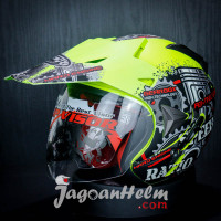 JPR HELM SUPER MOTO SPEED RATIO | FLUO YELLOW DOFF | DOUBLE VISOR