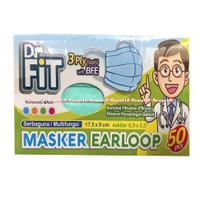 Dr Fit Masker Earloop 3Ply Surgical Mask Masker Bedah Anti Bakteri 50p