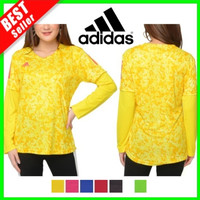 Baju Olahraga Senam Wanita Lengan Panjang Hijab Kaos Fitness Gym Lari - kuning, XL
