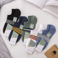 K9 Kaos Kaki Pria Low Cut Invisible Socks Striped Katun Premium Ankle