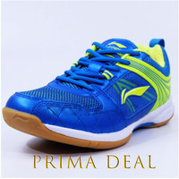 Sepatu Badminton Li-Ning / LiNing AYTQ082 Attack G6 / Red /Yellow/Blue - Biru, 42