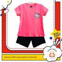Setelan Baju/Kaos Anak Motif Hello Kitty 1 - 10 Tahun - Merah Muda