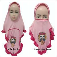 Jilbab Instan Masker Hijab Anak Harian Niqob 3in1 LED Bisa Nyala