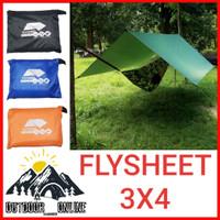 Flysheet Tenda 3x4 M / Fly Sheet / Bivak / Buscraft - Biru