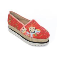 Elemwe - Sepatu Wedges Wanita Batik Ondel Ondel - Orange