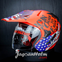 JPR HELM SUPER MOTO BORN TO RIDE | FLUO RED DOFF | DOUBLE VISOR