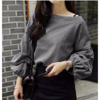 Baju Wanita Casual Blouse Stripe Salur Office Look