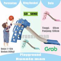 Mainan Anak Prosotan Dino Ring Basket + Bola VRT-270 Perosotan - Hijau, Kardus aja