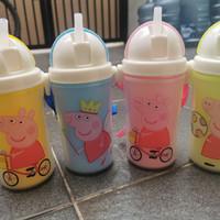 botol minuman termos air minum anak sekolah sedot sedotan peppa pig - peppa pink