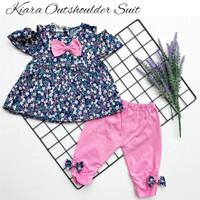 Setelan baju legging bayi perempuan katun Jepang sabrina