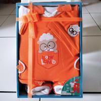kado lahiran baju bayi/gift set baju bayi baru lahir merek kiddy baby - Orange