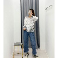 Baju Atasan Blouse Korea White Dot Flower sz L Import