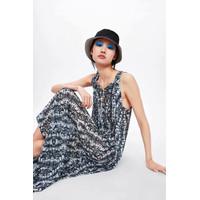 Gaun Long Dress Korea Black Pattern Import