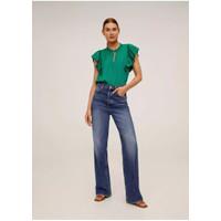 Baju Atasan Blouse Korea Green With Ribbon Import