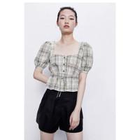Baju Atasan Blouse Wanita Khaki Grid Casual Import