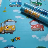 Wallpaper Sticker Dinding Motif Karakter Bus Tayo 45CM x 10M