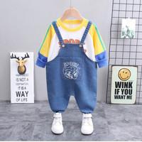 Baju Setelan Anak Laki Import Kaos Sweater Panjang Overall Jeans 1-3th