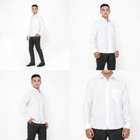 Kemeja Pria Lengan Panjang Polos Bahan Formal Kerja Terlaris Putih - Putih, M