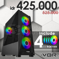 VBR PANTHER VP-001 Temperred Glass Gaming Case - Include 4 Rgb Fan
