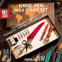 MIZU HANEPEN WAX SEAL Calligraphy Set Feather Pen Bulu 6 Nibs Stempel