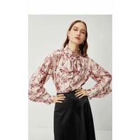 Baju Atasan Blouse Korea Pink Flowery Import