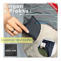 Sajadah Travel Saku Lipat Anti Air Free Pouch KABAH 60x100cm - Hitam