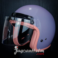 HELM RETRO BOGO SADA ROSSA | SOLID PURPLE | + KACA DATAR CLEAR