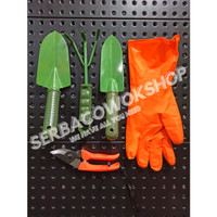 Paket Berkebun Skop Taman Set-Gunting Dahan Orange-Sarung Tangan Karet