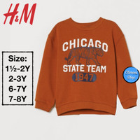 H&M Boy Sweatshirt Anak Laki-Laki Chicago Dark Red Branded Original