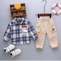 Baju Setelan Anak Laki Cowok Import Kemeja Flanel Kotak Biru 1-3 tahun