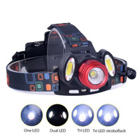 TaffLED Headlamp Flashlight Headlight LED 4 Modes 1 XML-T6 + 2 COB