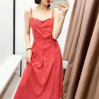 Gaun Long Dress Korea Red Small Dot Import