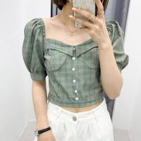 Baju Atasan Blouse Wanita Green With Red Line Import