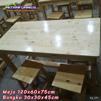 Meja 1 set untuk restauran cafe rumah dll - meja set kayu jatilanda