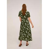 Gaun Long Dress Korea Green Leaf Pattern sz M Import
