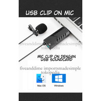 Fiven USB Sound card 3.5mm out input mic clip on Gaming Zoom Discord