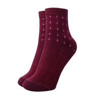 Kaos Kaki Pendek Wanita Ribbed Socks Original Kaia Socks - Maroon
