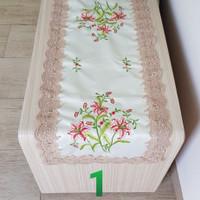 Taplak meja tamu renda bordir 35x100cm